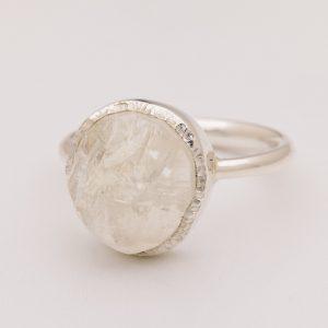 Raw moonstone gemstone ring handmade sterling silver.