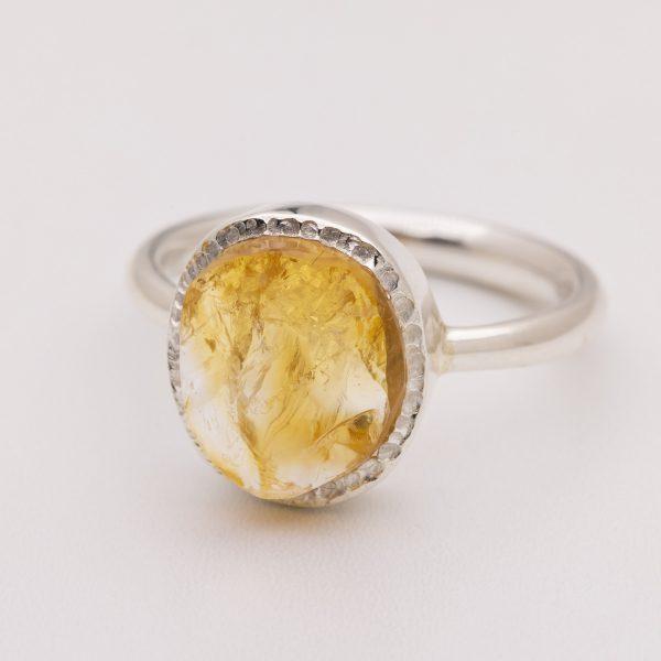 citrine raw crystal gemstone ring silver