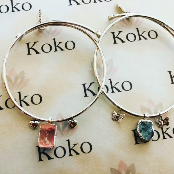 Raw gemstone adjustable bangle sterling silver