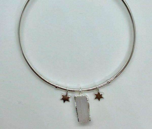 Raw Moonstone gemstone adjustable bangle sterling silver