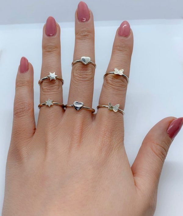 Sterling silver stacking rings heart,star,butterfly