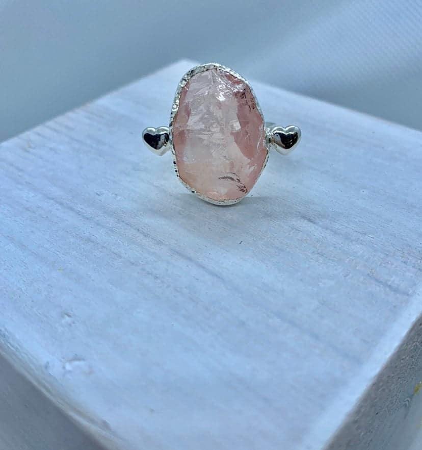 raw stone ring large stone ring raw gemstone ring raw rose quartz ring Rose quartz ring raw quartz ring raw stone silver ring rings
