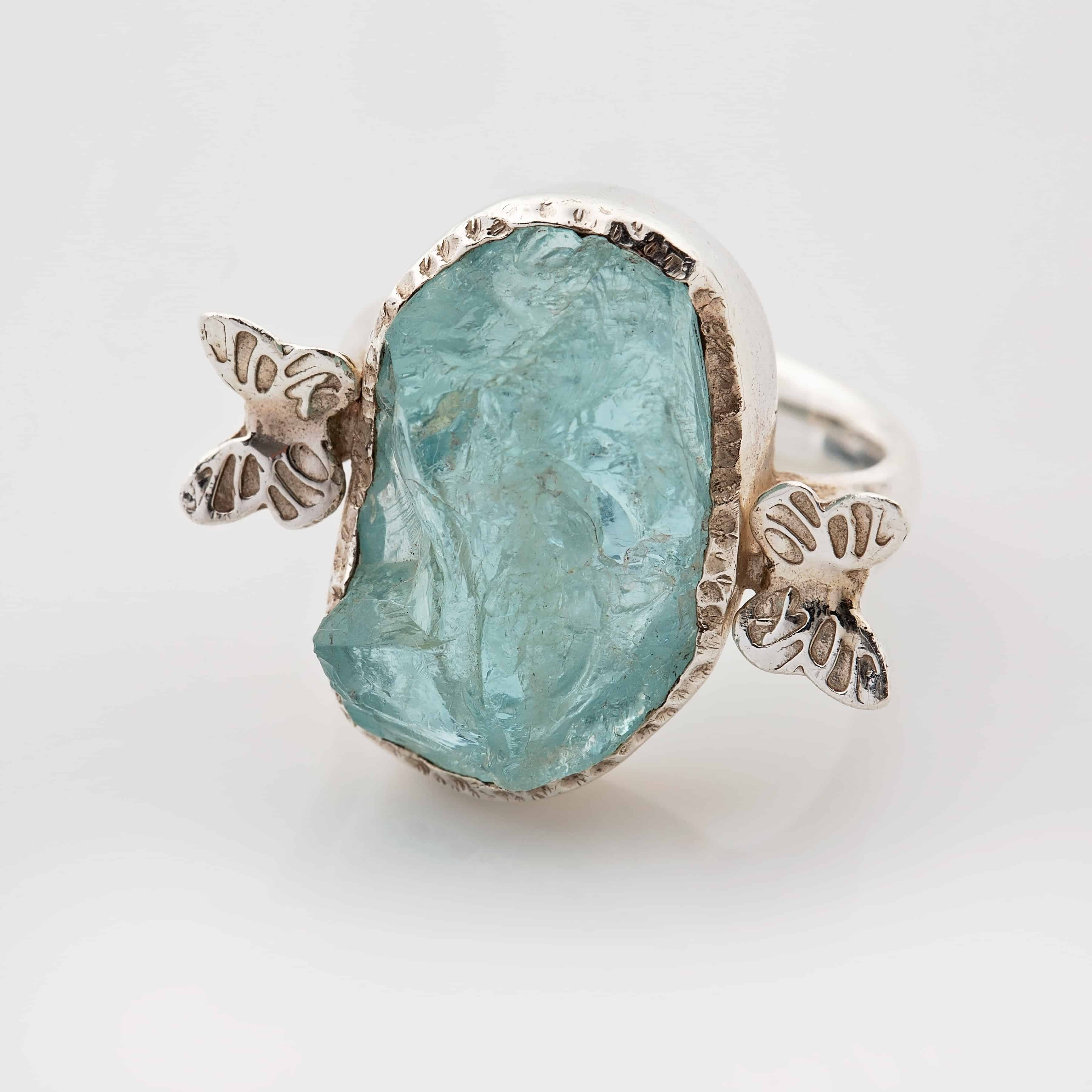aquamarine stone butterfly ring