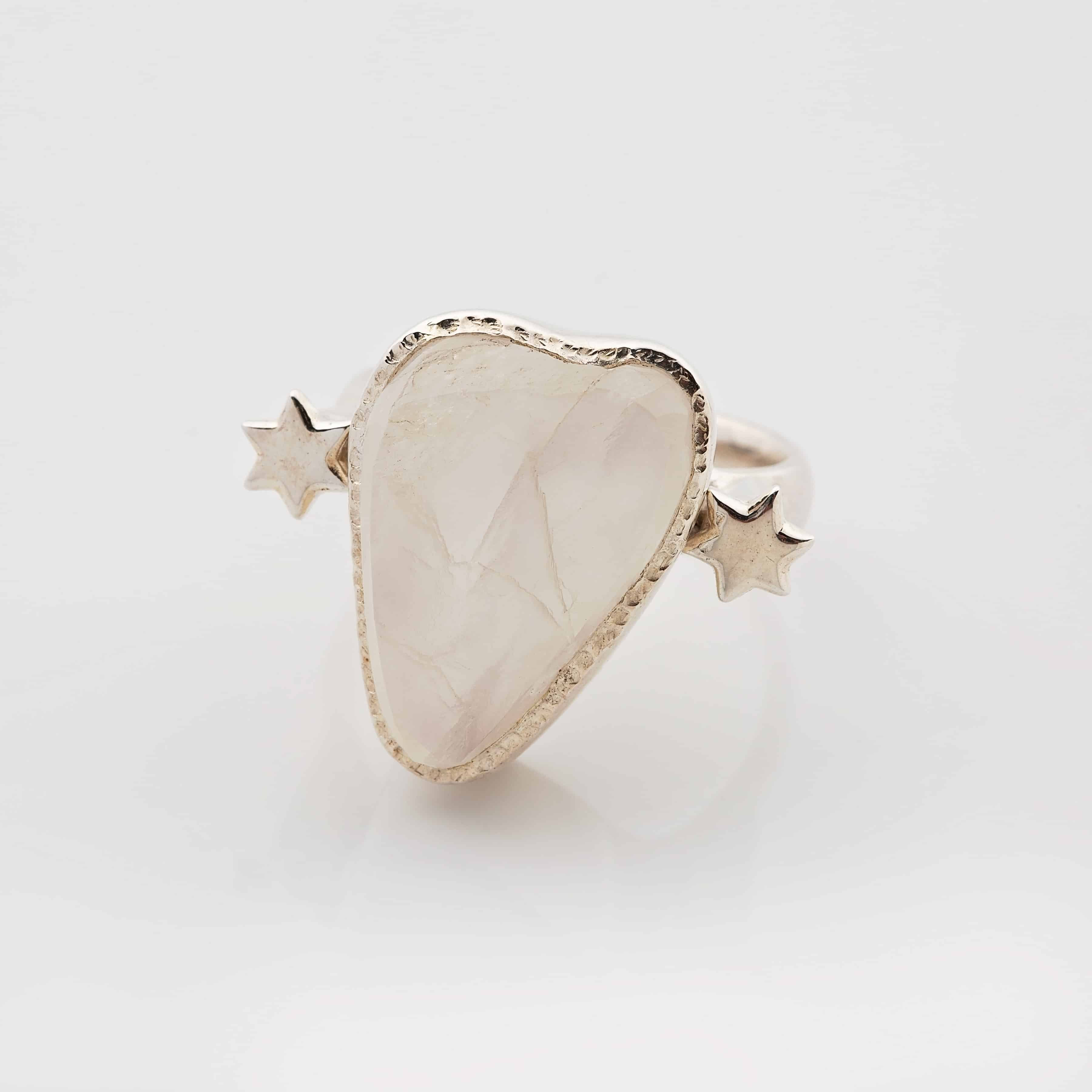 moonstone raw stone ring