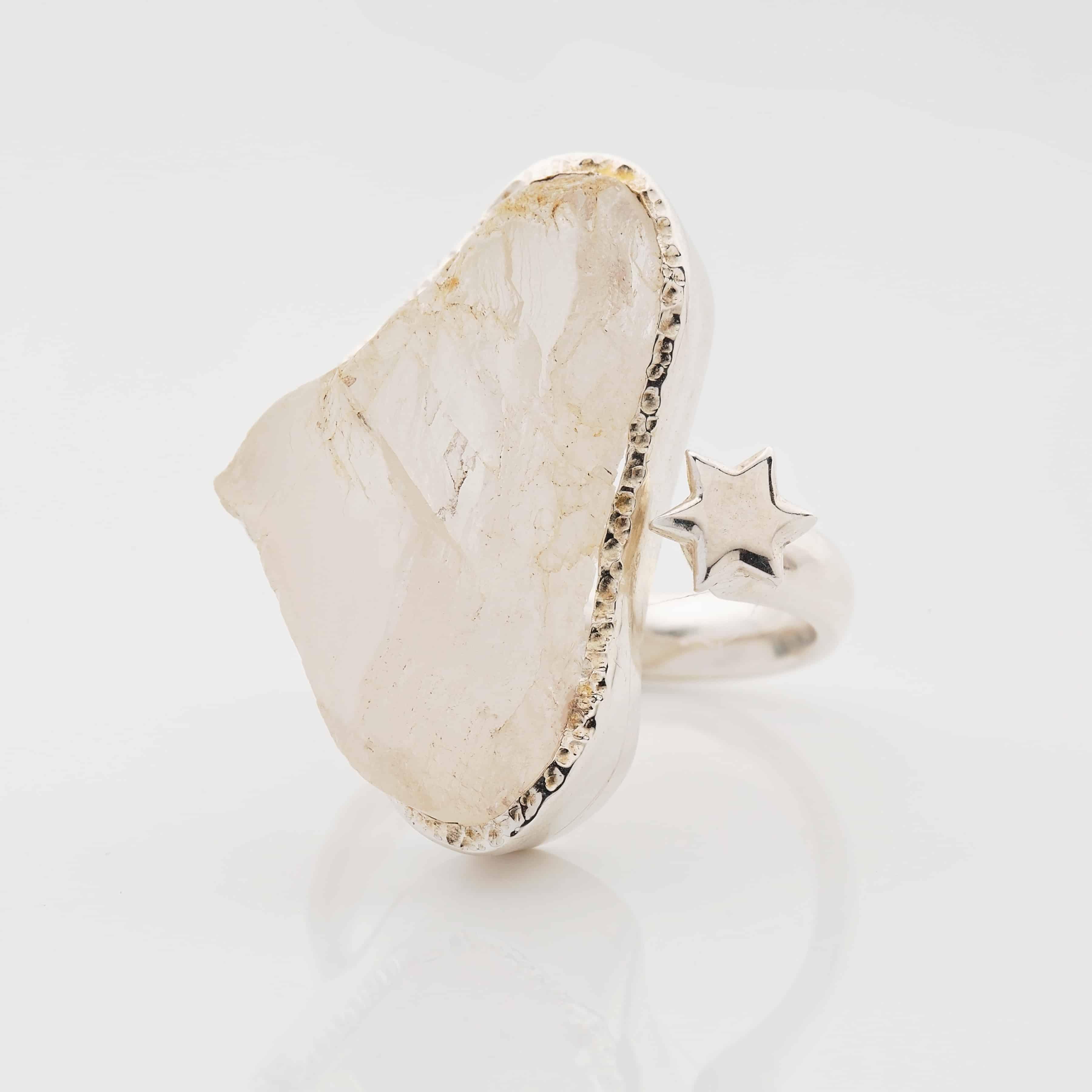 Moonstone raw adjustable gemstone ring silver.