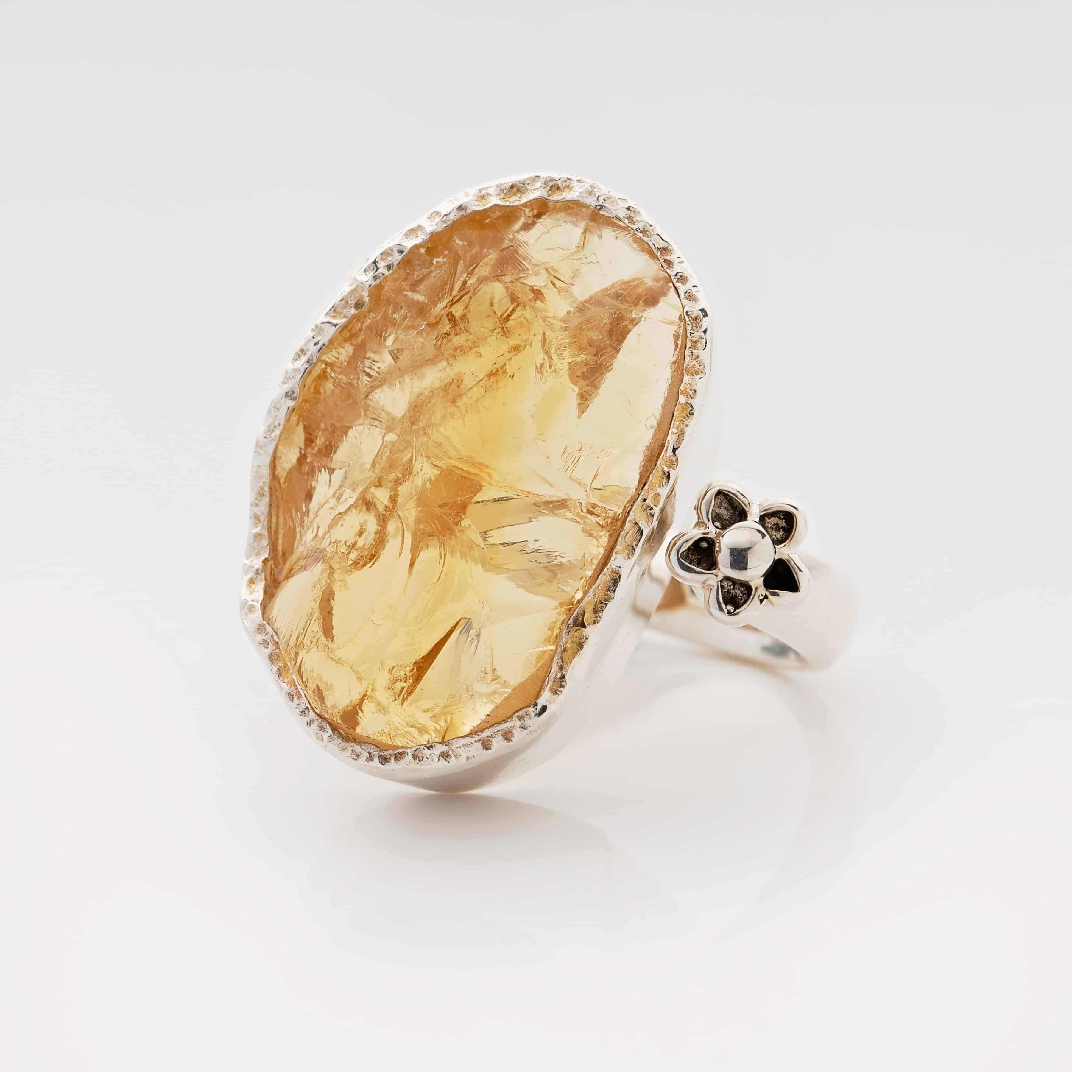 citrine raw gemstone adjustable ring statement ring