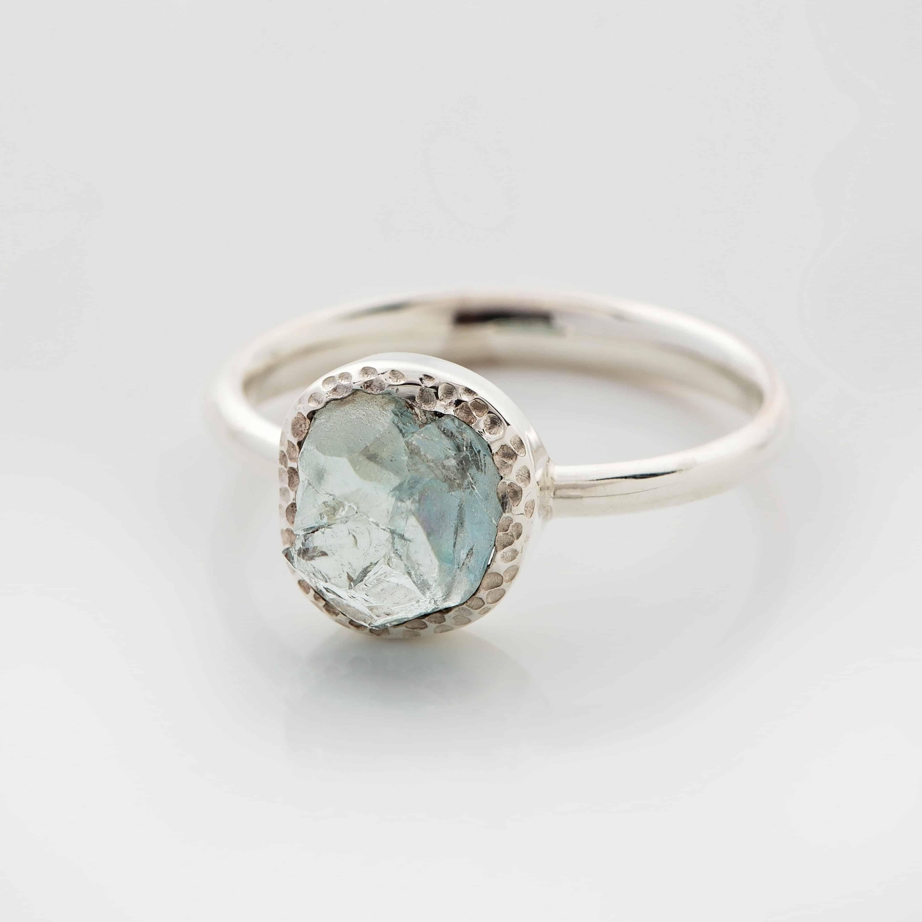 aquamarine raw stone ring