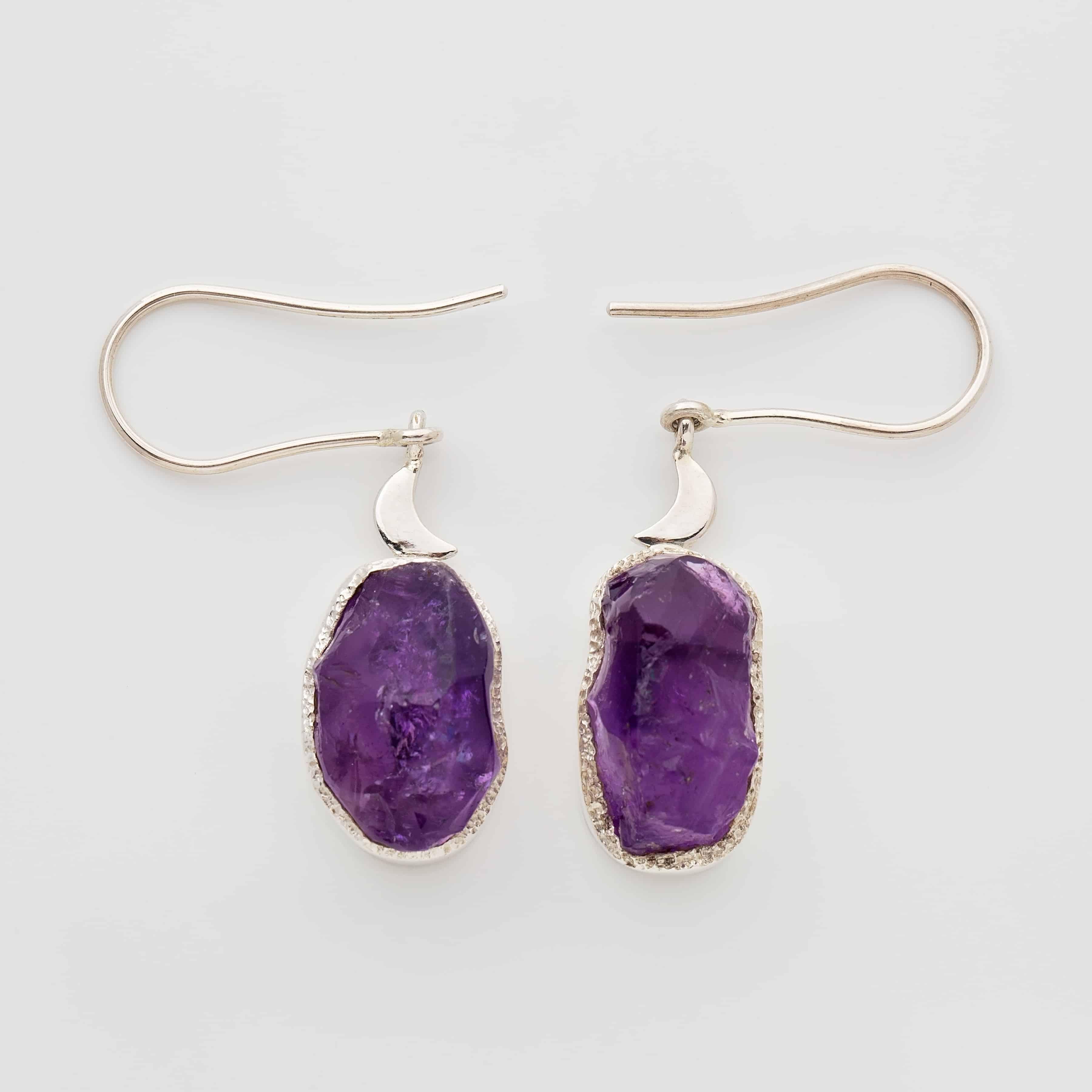 amethyst raw stone earrings