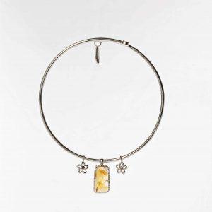 Citrine raw gemstone bangle handmade sterling silver