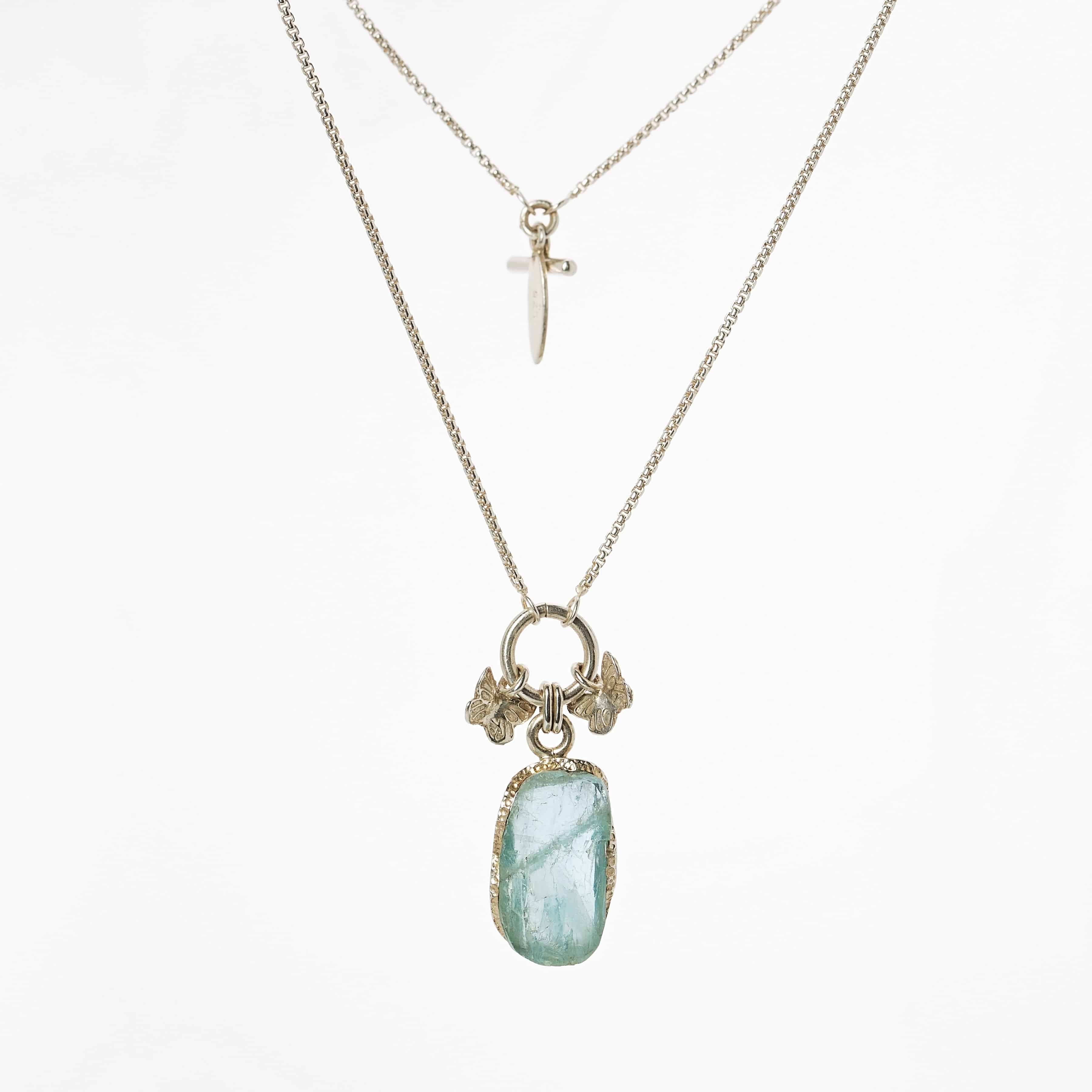 Aquamarine Raw butterfly 2in1 chain necklace, necklace,handmade