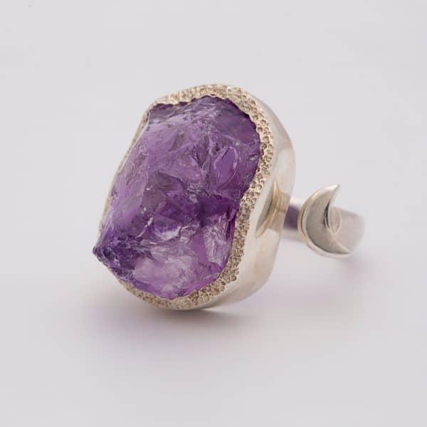 Amethyst Raw gemstone moon adjustable ring, sterling silver