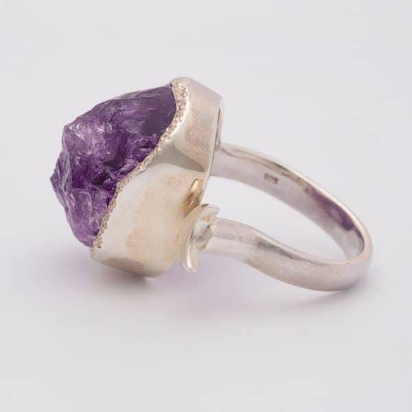 Amethyst Raw gemstone adjustable ring, sterling silver