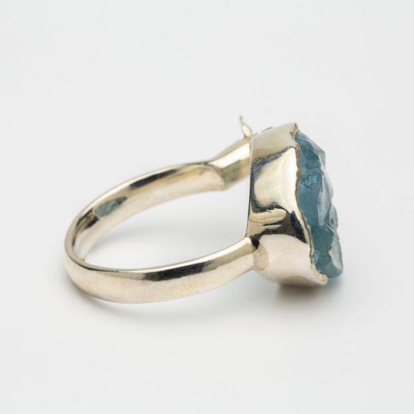 Aquamarine raw gemstone butterfly adjustable ring