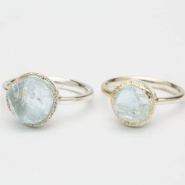 Aquamarine Raw gemstone ring, sterling silver