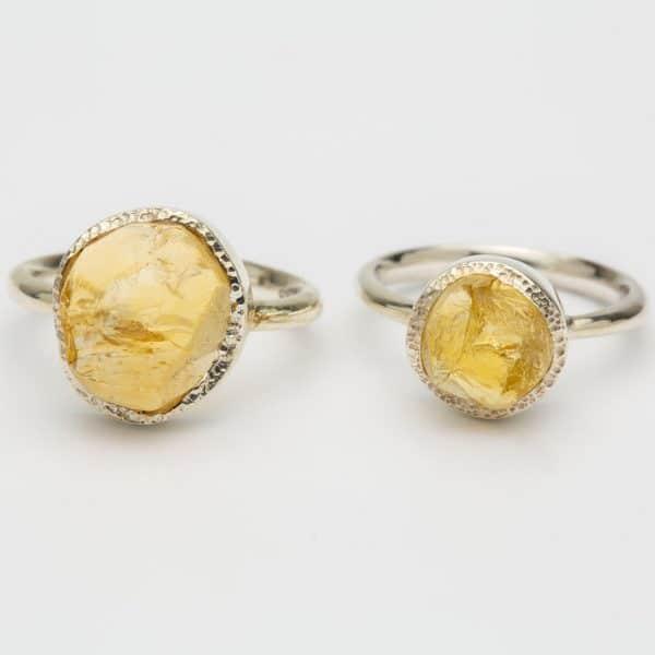 Citrine Raw gemstone ring, sterling silver