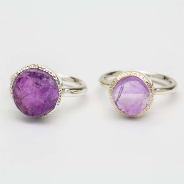 Amethyst raw stone ring