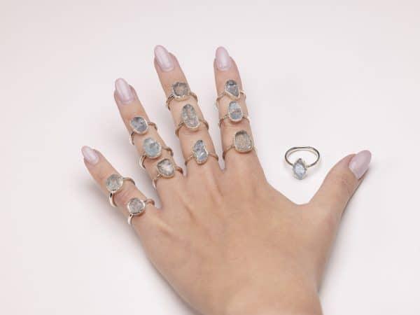 Raw aquamarine gemstone ring sterling silver modelled handmade