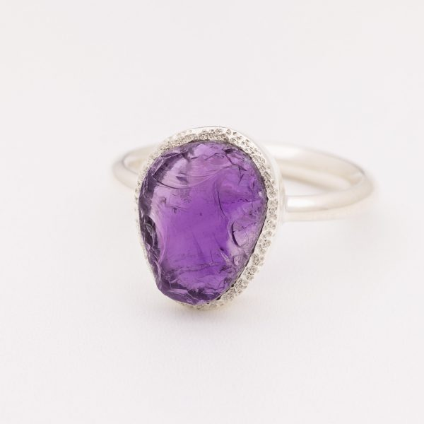 amethyst raw crystal gemstone ring silver