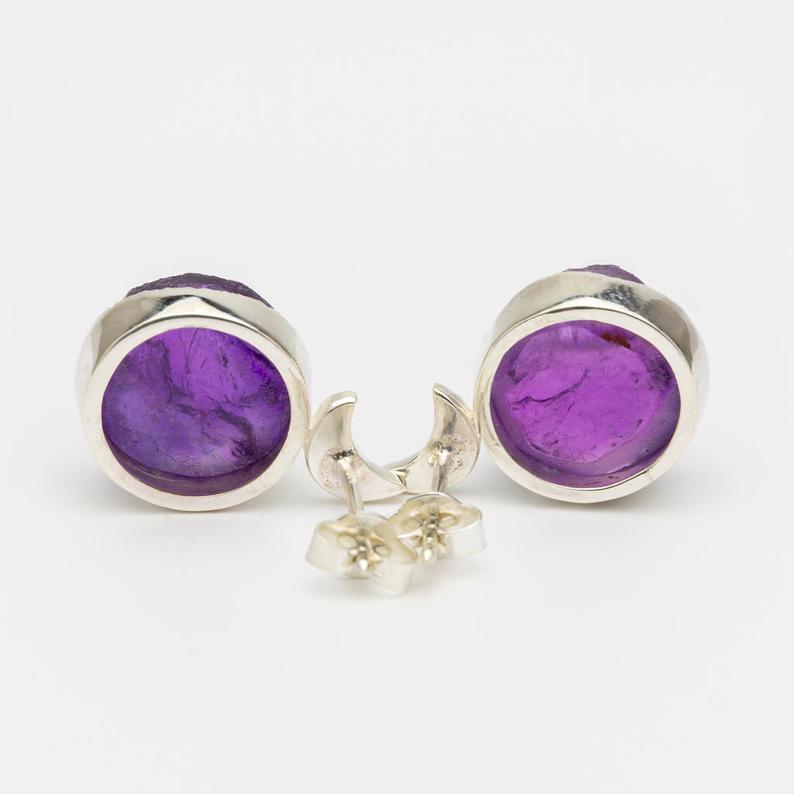 Drop-Dangle Earrings Sterling Silver Earrings Amethyst Earrings Oval Gemstone Earrings Solid Silver R475 February Birthstone Earrings