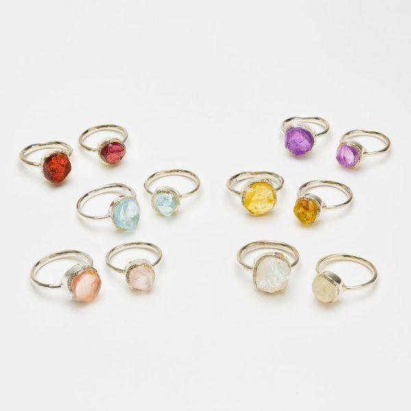Raw crystal rings, uncut gemstone, sterling silver