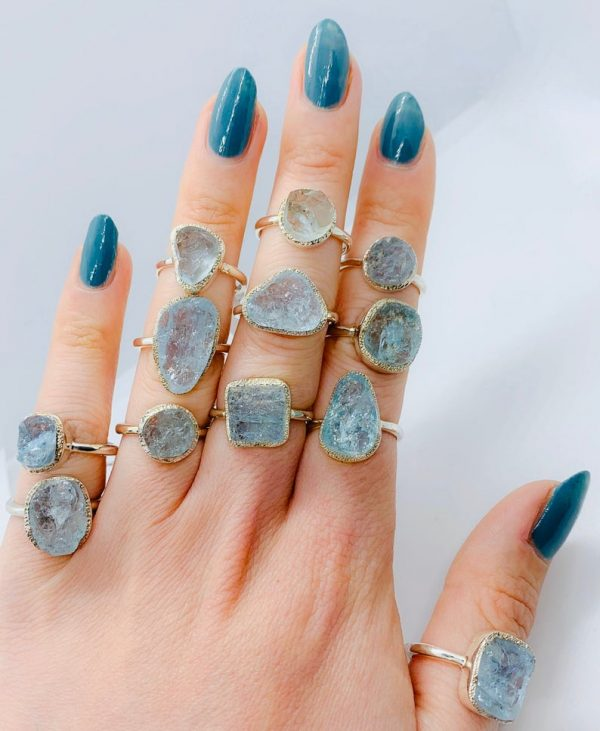 Aquamarine Raw Gemstone ring