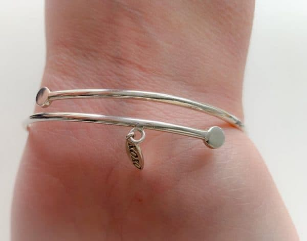 Raw Aquamarine butterfly bangle sterling silver