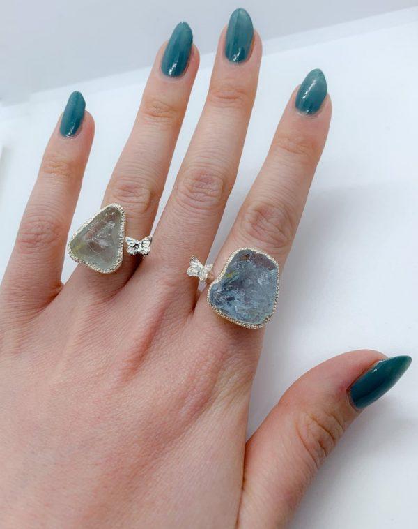 Aquamarine raw gemstone butterfly adjustable rings