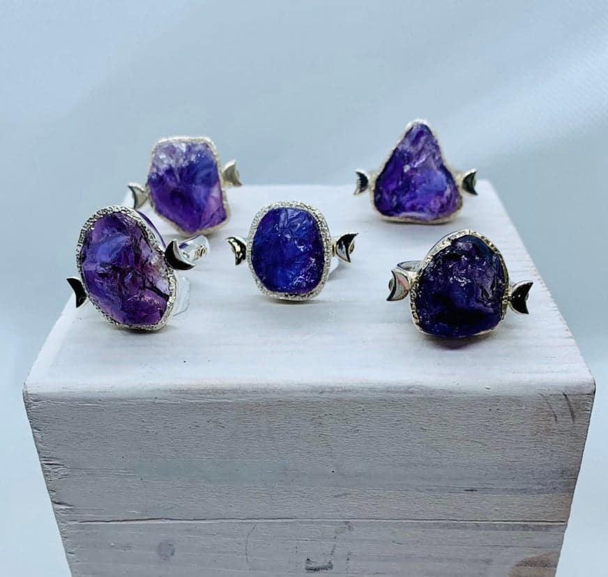 Raw Stone Amethyst moon ring, handmade sterling silver