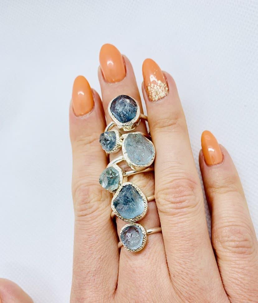 Aquamarine Raw gemstone crystal rings, sterling silver