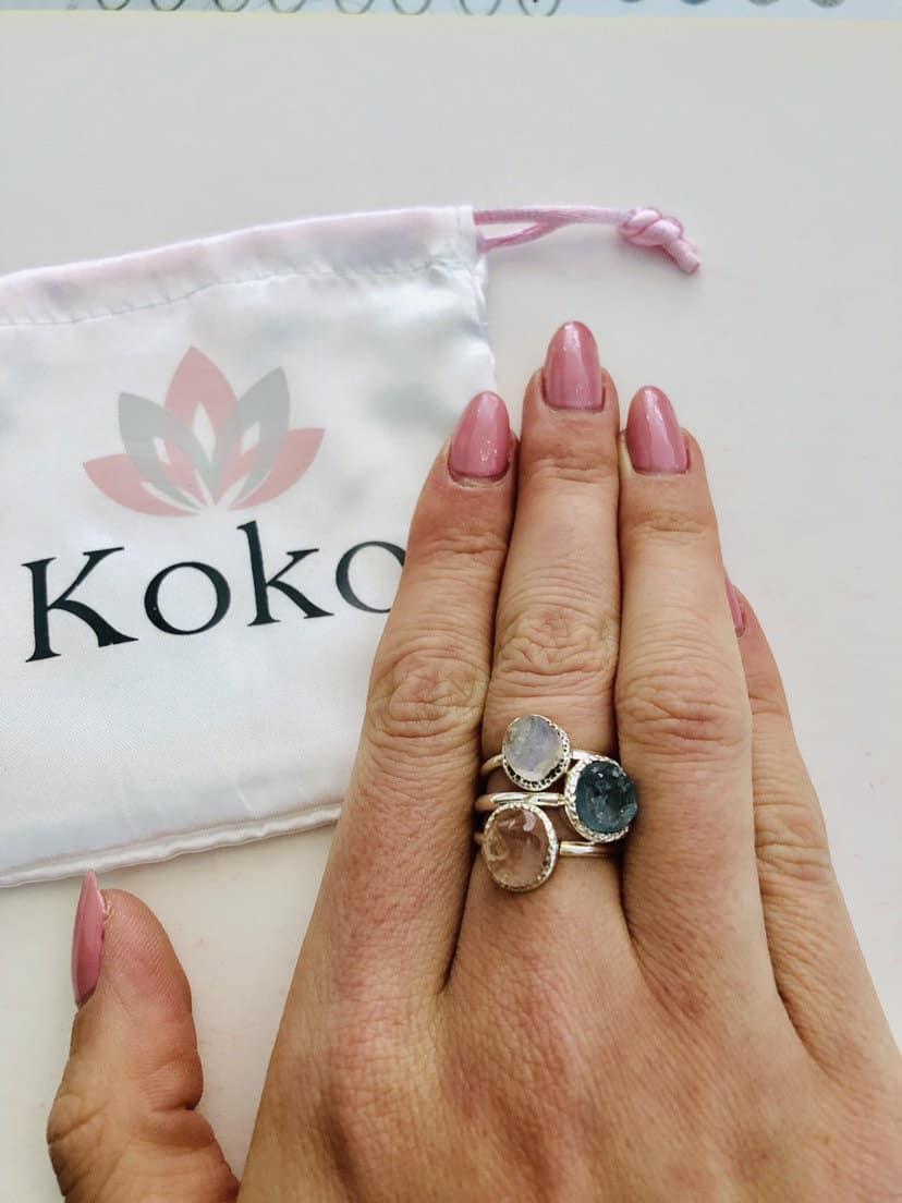 Raw gemstone crystal rings, sterling silver