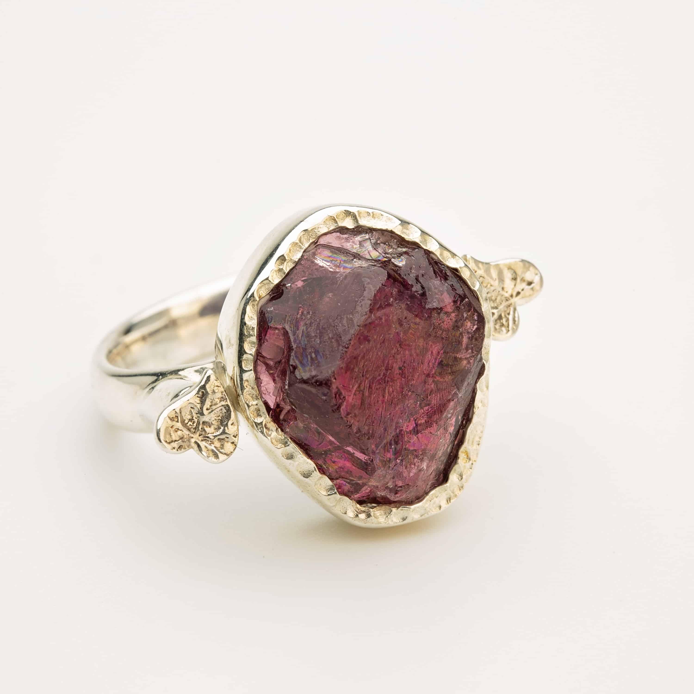 Raw Garnet gemstone adjustable ring, sterling silver