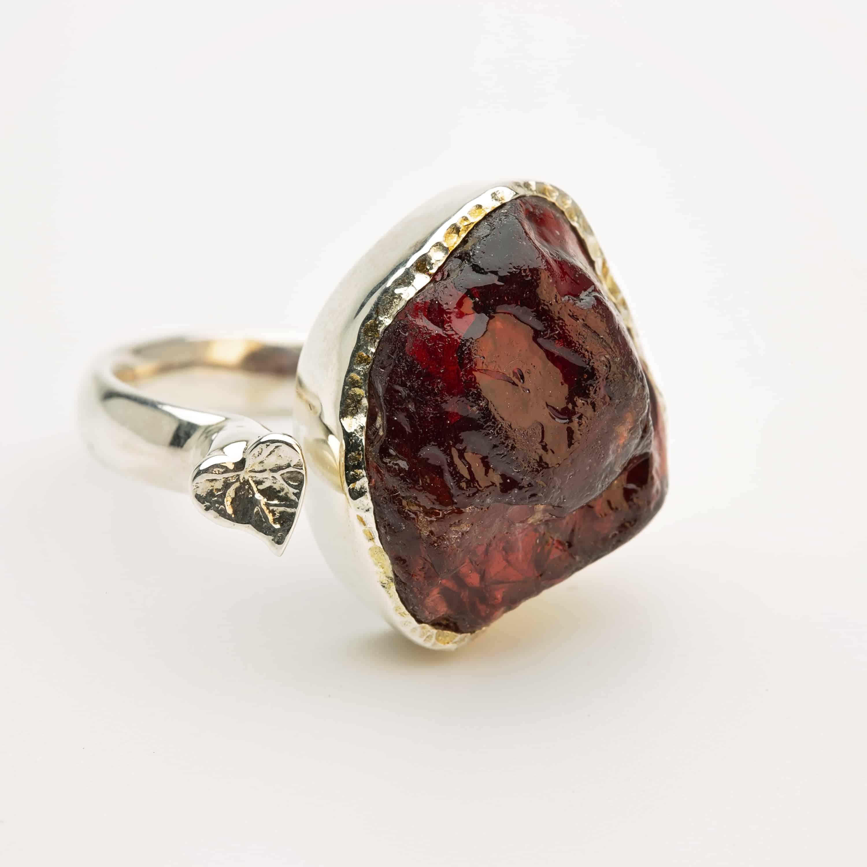 Raw garnet gemstone adjustable ring silver handmade