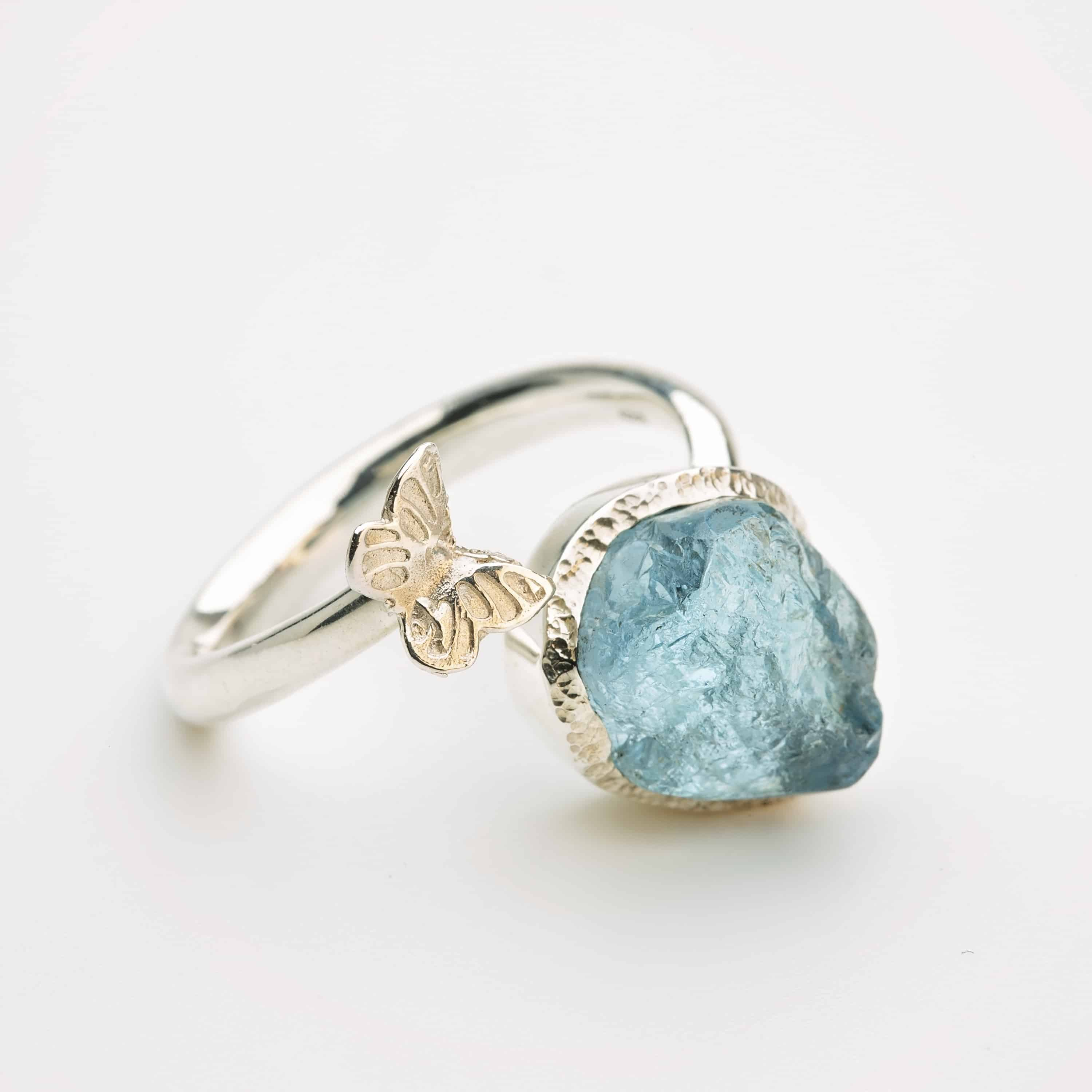 Raw Aquamarine adjustable butterfly ring, sterling silver