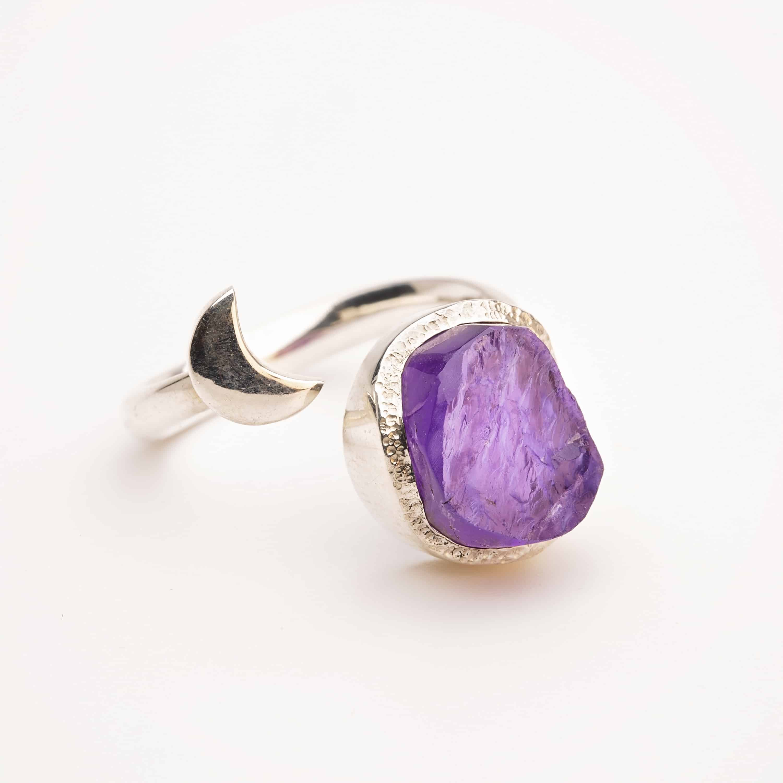 Amethyst raw stone ring
