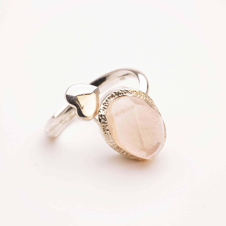 Rose Quartz raw crystal adjustable gemstone ring