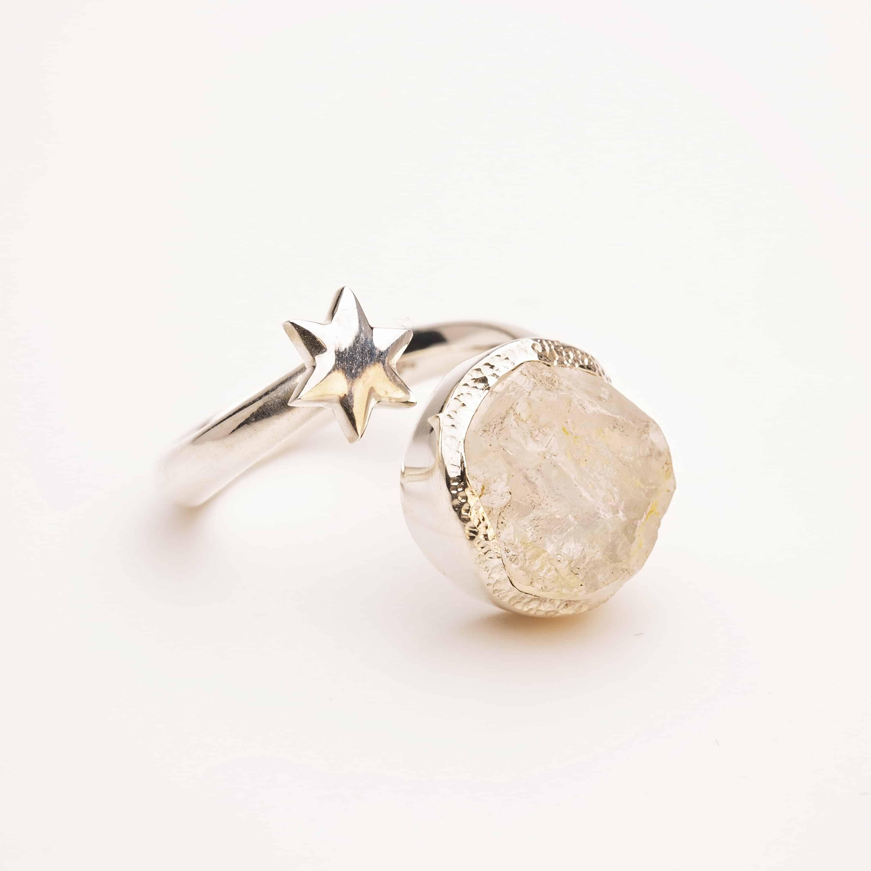 Raw moonstone gemstone adjustable star ring silver