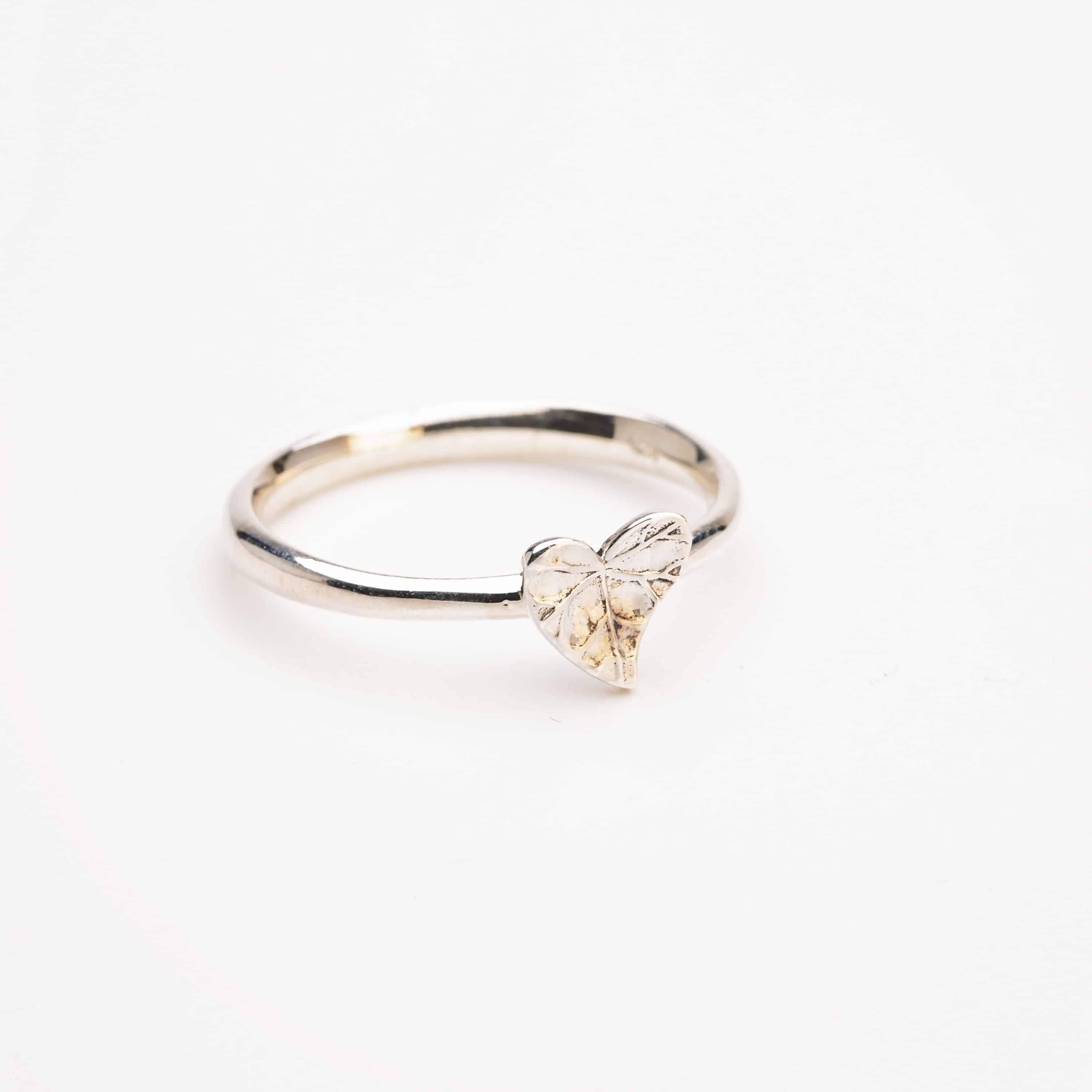 Sterling silver leaf heart ring stacking ring