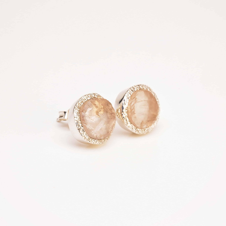 rose quartz studs