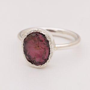 Raw garnet gemstone ring handmade sterling silver.