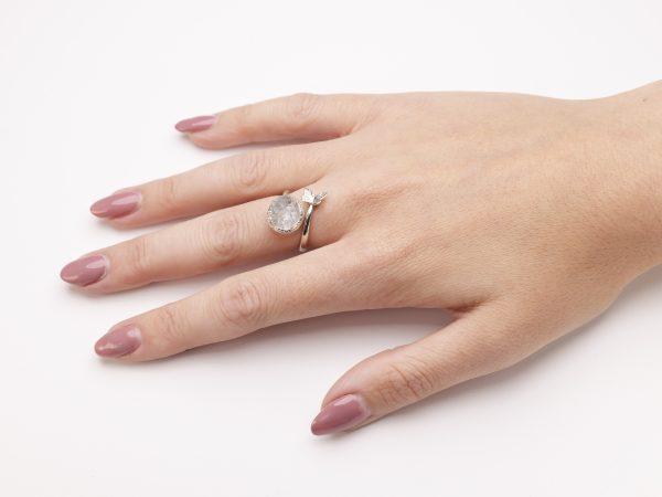 aquamarine raw gemstone adjustable butterfly ring silver