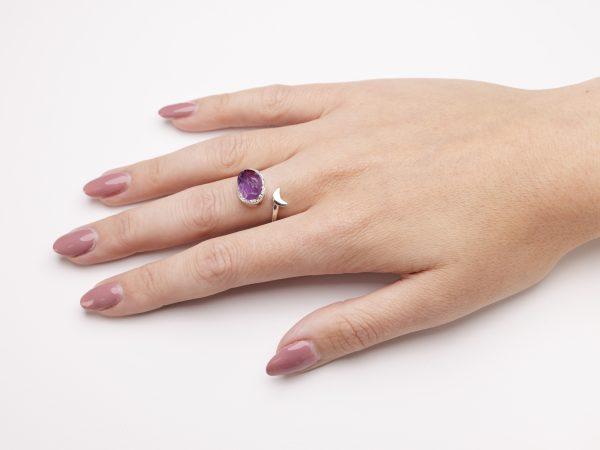 Amethyst raw gemstone adjustable moon ring silver