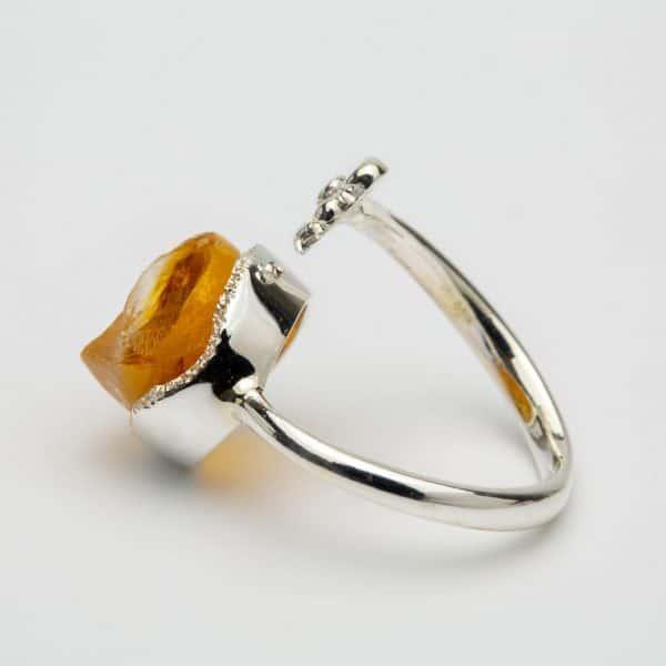 Raw Citrine flower adjustable ring, sterling silver