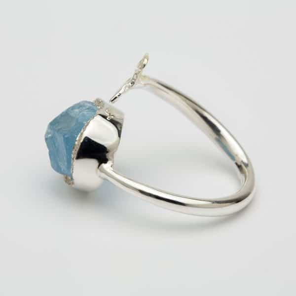 Raw Aquamarine butterfly adjustable ring, sterling silver