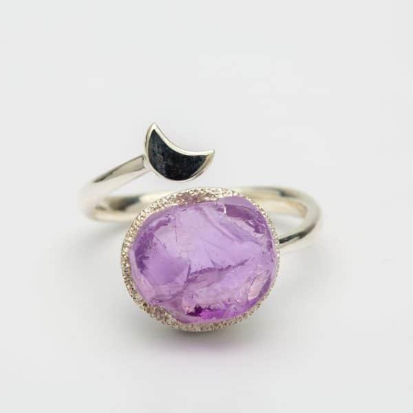 Amethyst Raw moon adjustable ring, sterling silver