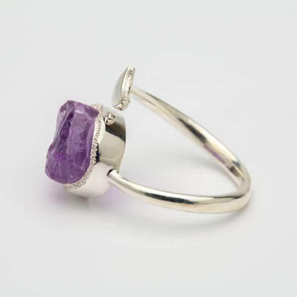 Raw Amethyst moon adjustable ring, sterling silver