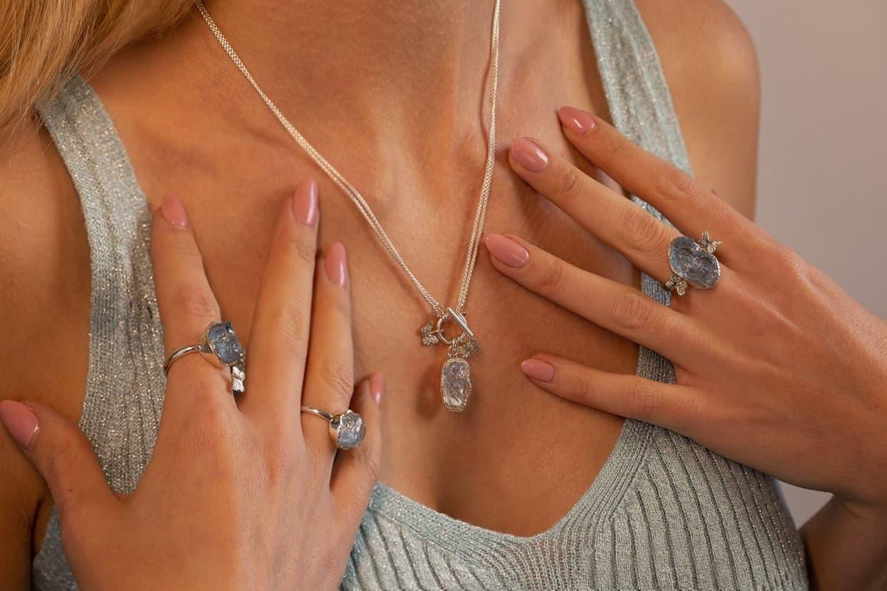 Aquamarine Raw gemstone jewellery, modelled