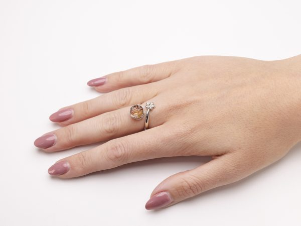 citrine raw gemstone adjustable flower ring silver