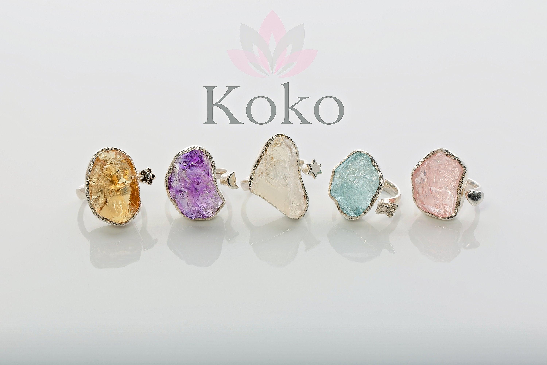 Raw gemstone adjustable rings, sterling silver