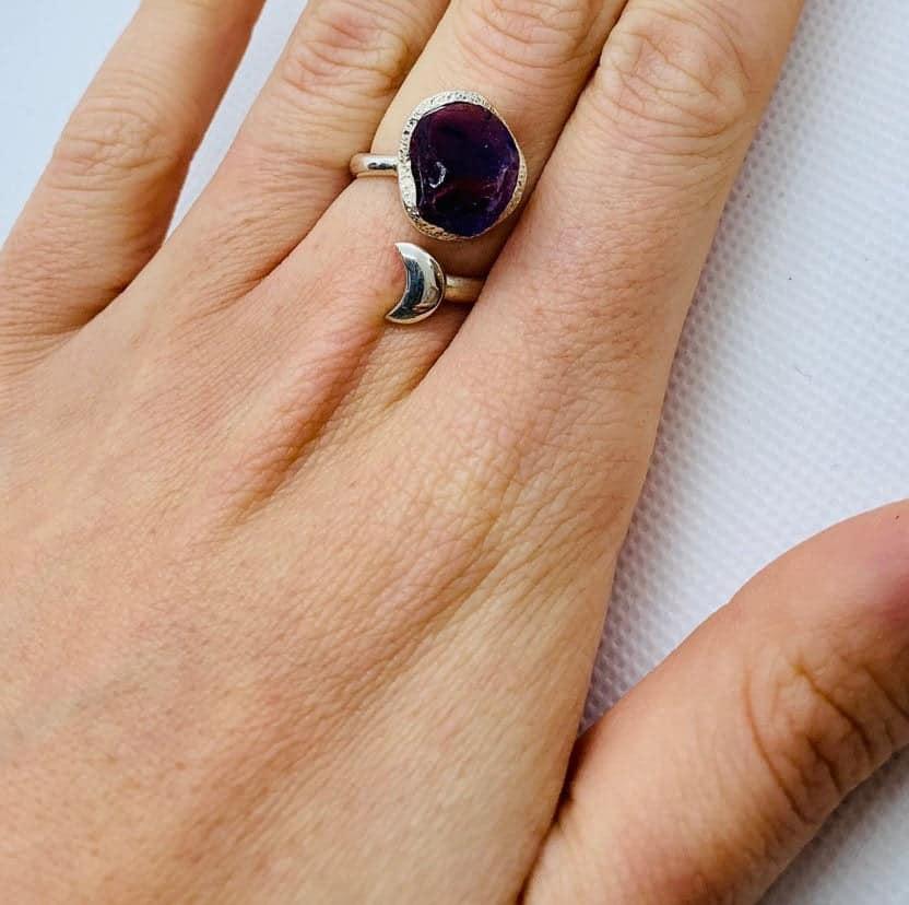 Amethyst Raw gemstone adjustable moon ring , sterling silver