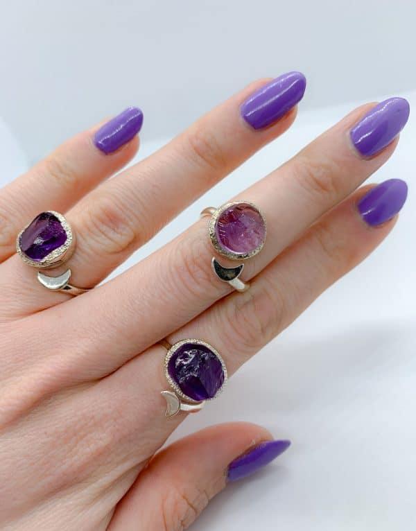 Amethyst Raw gemstone moon adjustable rings, sterling silver